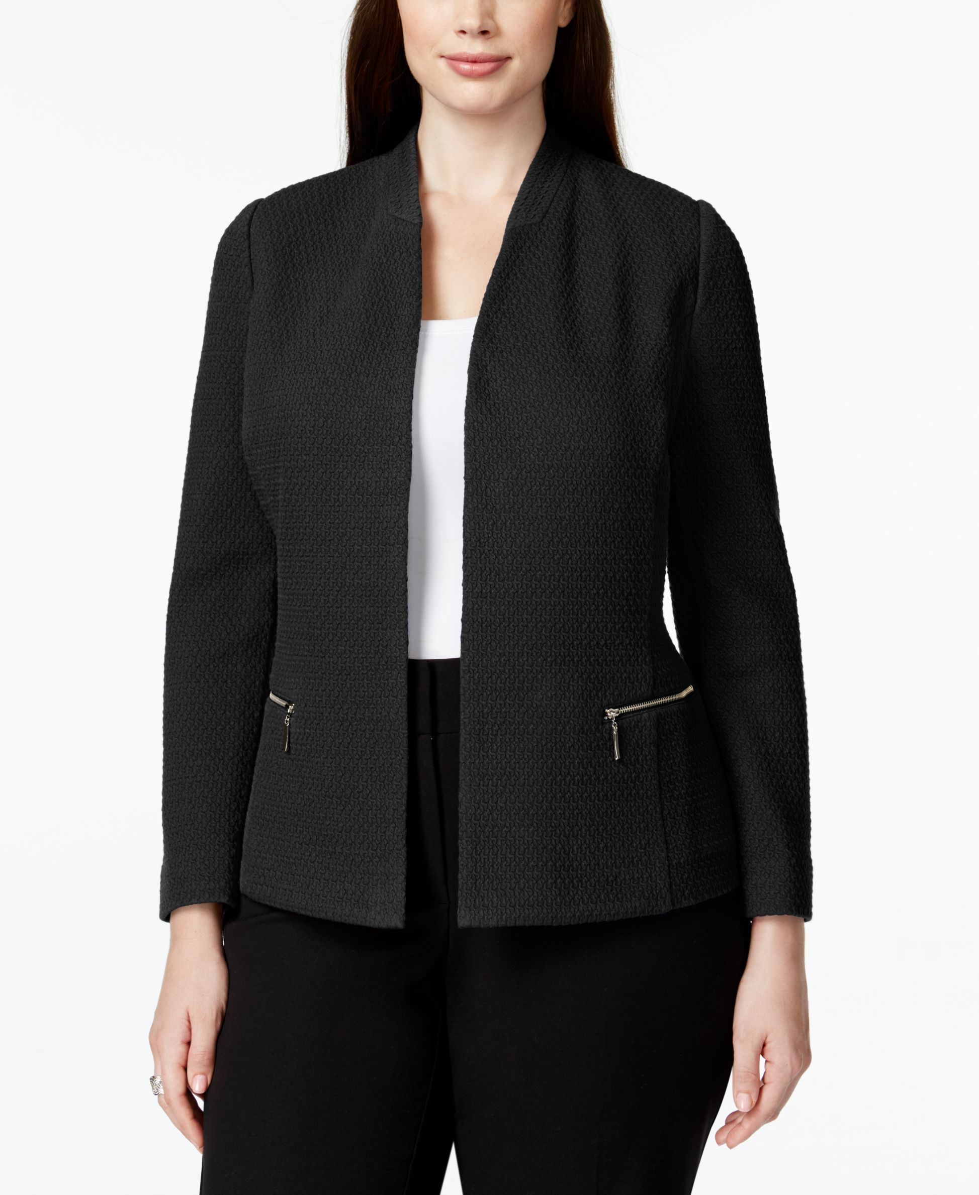 6e4b890b4cace6 Alfani Plus Size Textured Zip-Pocket Blazer, Only at Macy's | Products