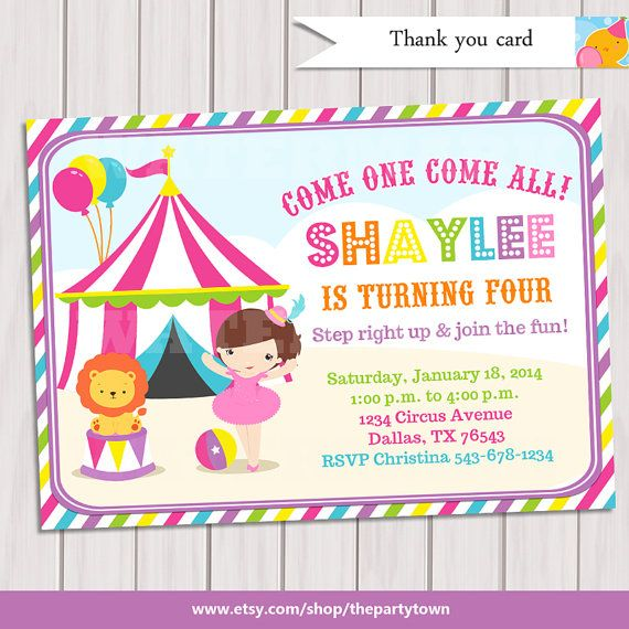 Pink Circus Invitation \/ Pink Circus Invite \/ Girl by ThePartyTown - circus party invitation