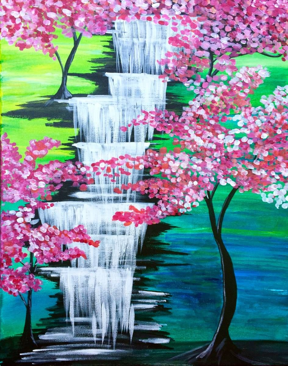 Cherry Blossom Waterfall Paint Nite Portraits In 2019