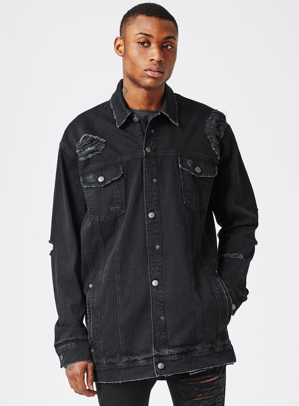 Aaa Black Distressed Longline Denim Jacket Men S Coats Jackets Clothing Topman Longline Denim Jacket Denim Jacket Men Mens Jackets [ 1350 x 994 Pixel ]