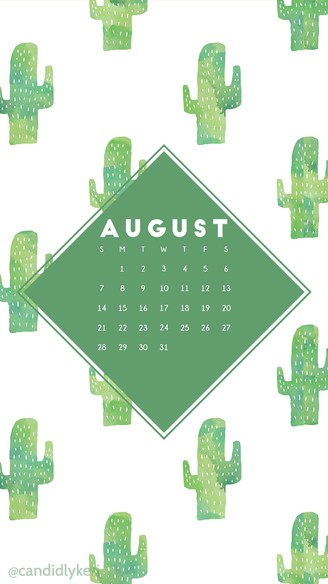 Cactus Fun Cacti Green Watercolor Background August Calendar 2016 Wallpaper  You Can Download For Free On