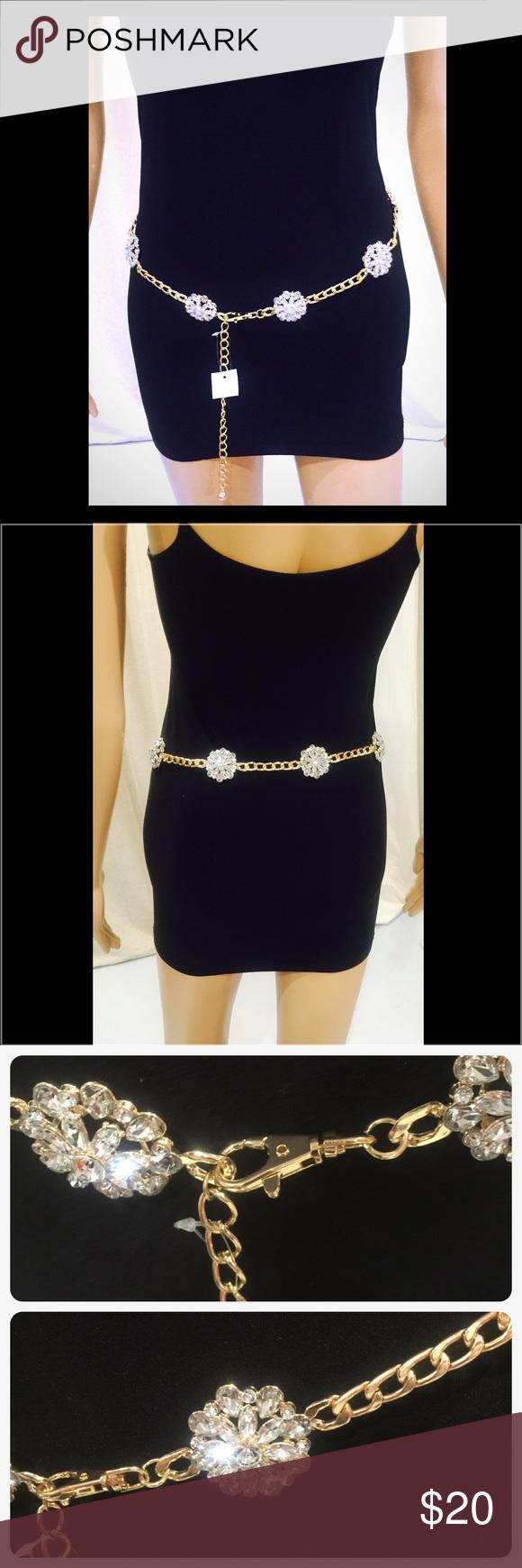 Chain Gold Belt w/Diamond Flower Design Chain Gold Belt w/Diamond Flower Design NWOT. Accessories Belts