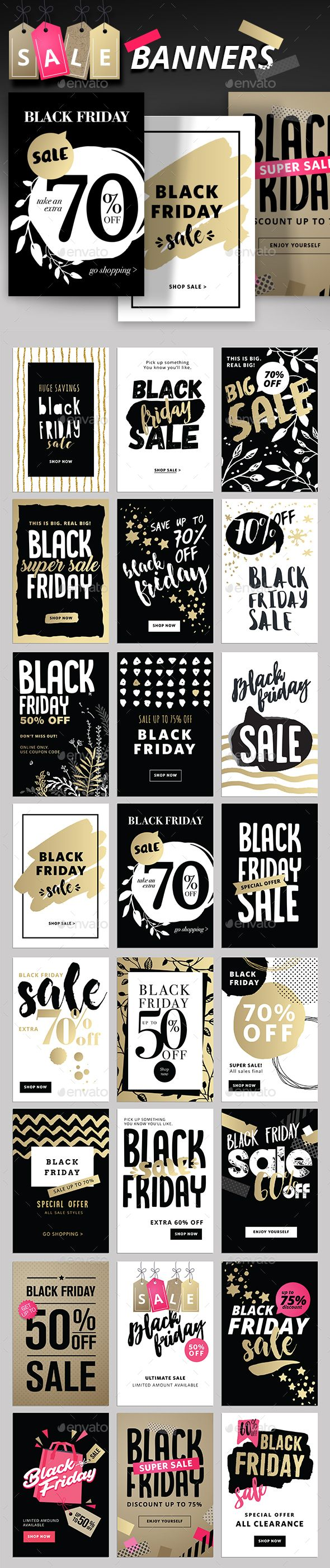 Black Friday Social Media Banners Template PSD, Transparent PNG ...