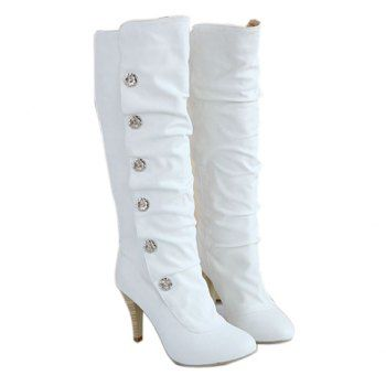 Casual PU Leather High Heel Studs Design Women's Boots
