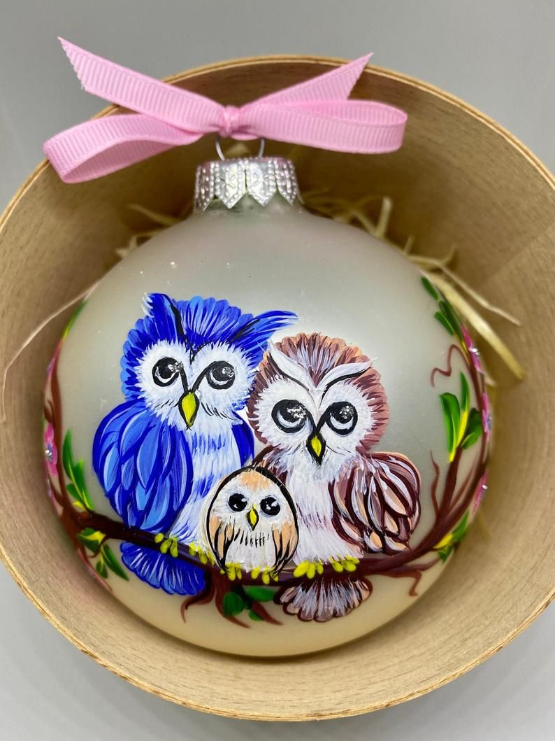 Baby/'s First Christmas Personalized hand painted glass ornament Adorable owl