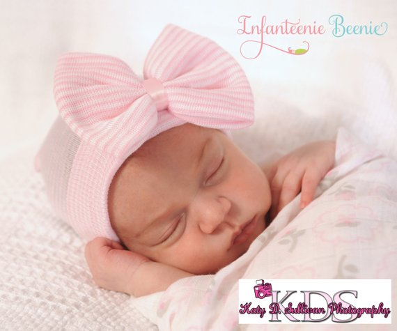 d485af982 baby girl newborn hospital hat pink and white newborn hospital hat with bow  and bling newborn girl t