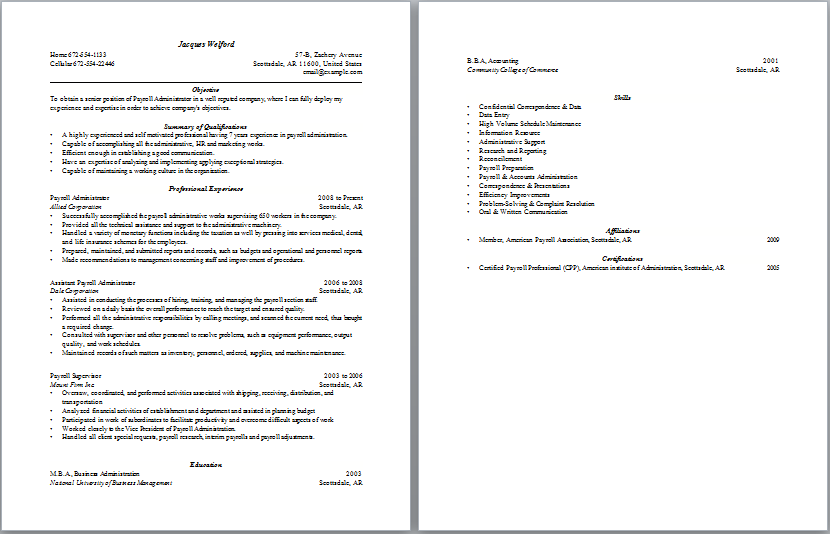 Payroll Administration Resume  Administrative Resume Samples