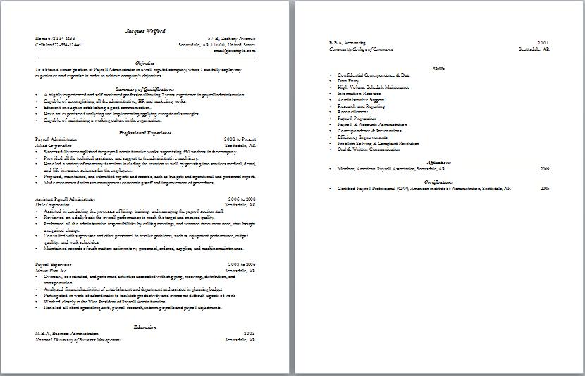 Payroll Administration Resume Sample Resume Template Resume Objective Examples Sample Resume Templates Cover Letter For Resume