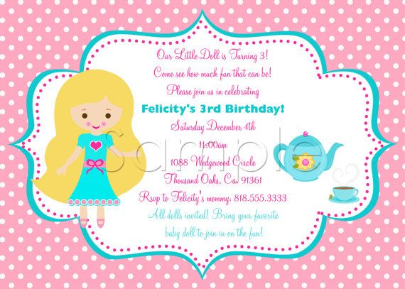 Doll and Me Party Invitations – Doll Party Invitations