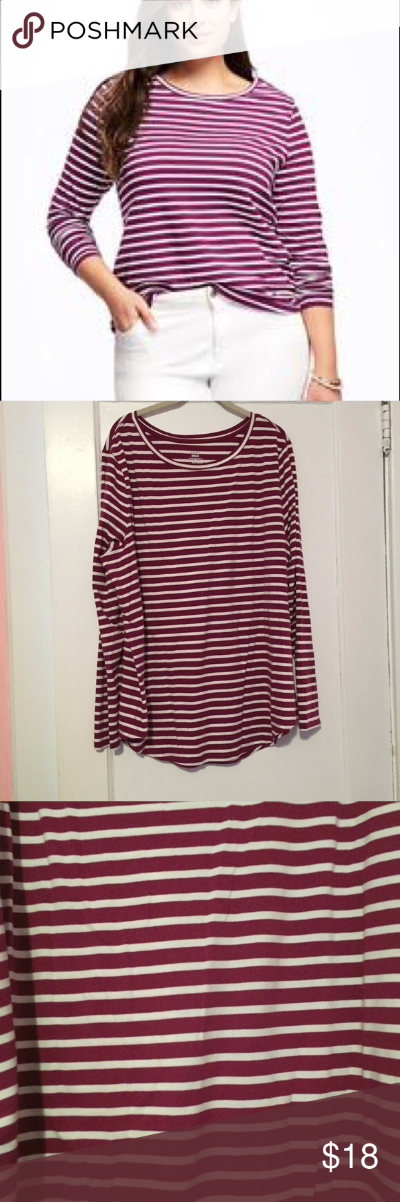 Old Navy Berry and White Striped Long Sleeve Tee Old Navy Berry and White Striped Long Sleeve Tee. Like new Old Navy Tops Tees - Long Sleeve