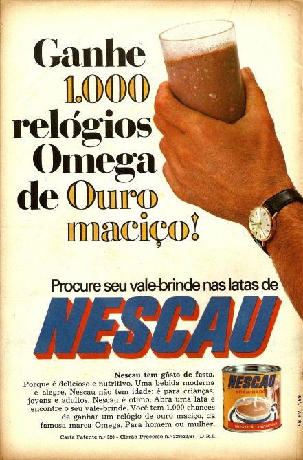 53a37bcf14d Promoção do Nescau nos anos 70  vale brinde dentro da lata. Foram mil relógios  Omega de Ouro Maciço.