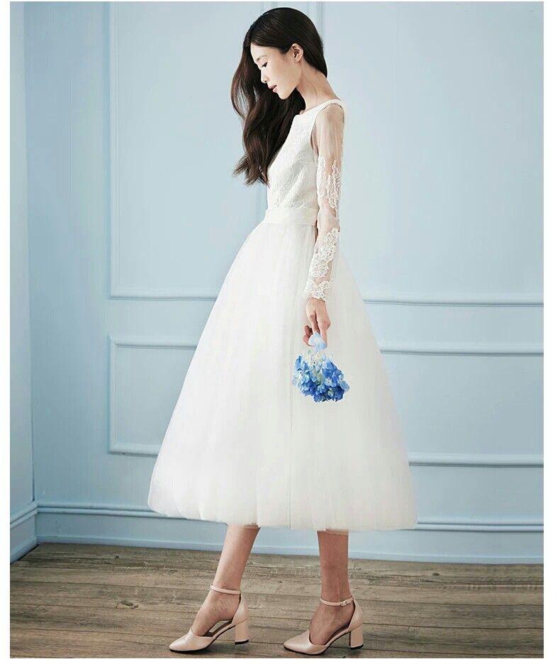 Tea length beach bridal lace gown | Short wedding dresses ...