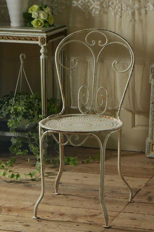 アンティーク アイアンガーデンチェア(ホワイト)C French Vintage Garden Chair - アンティーク アイアンガーデンチェア(ホワイト)c Antique Garden