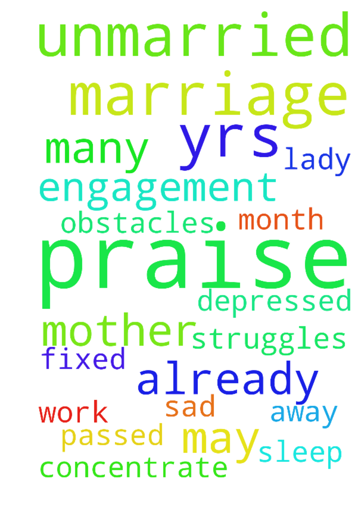 Praise the Lord,I am 36 yrs unmarried - Praise the Lord, I am 36 yrs unmarried lady. My engagement already fixed. Marriage will be on may but so many obstacles and struggles against of marriage my mother passed away 1 month before i am very depressed and sad. I cant concentrate work and cant sleep at all. Posted at: https://prayerrequest.com/t/ucA #pray #prayer #request #prayerrequest