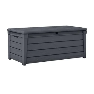 Keter Brightwood Plastic 120 Gallon Deck Box Storage Container Grey Gray In 2020 Patio Storage Deck Box Patio Storage Bench