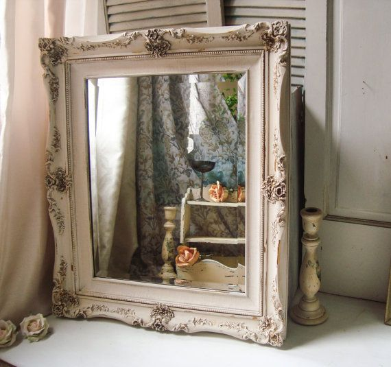 White Distressed Mirror Large Ornate Antique By Willowsendcottage Distressed Mirror Large Antique Mirror Painted Picture Frames
