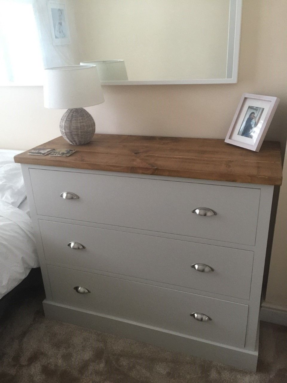Deep Drawer Chest In F B Cornforth White With A Rustic Plank Top