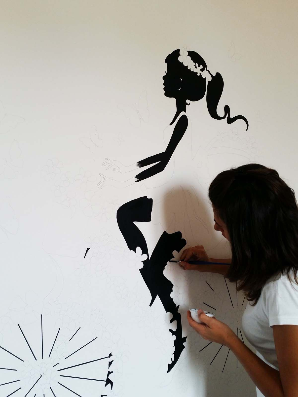 Colori Da Parete Per Camerette disegno a parete per cameretta, ragazza in sella alla sua