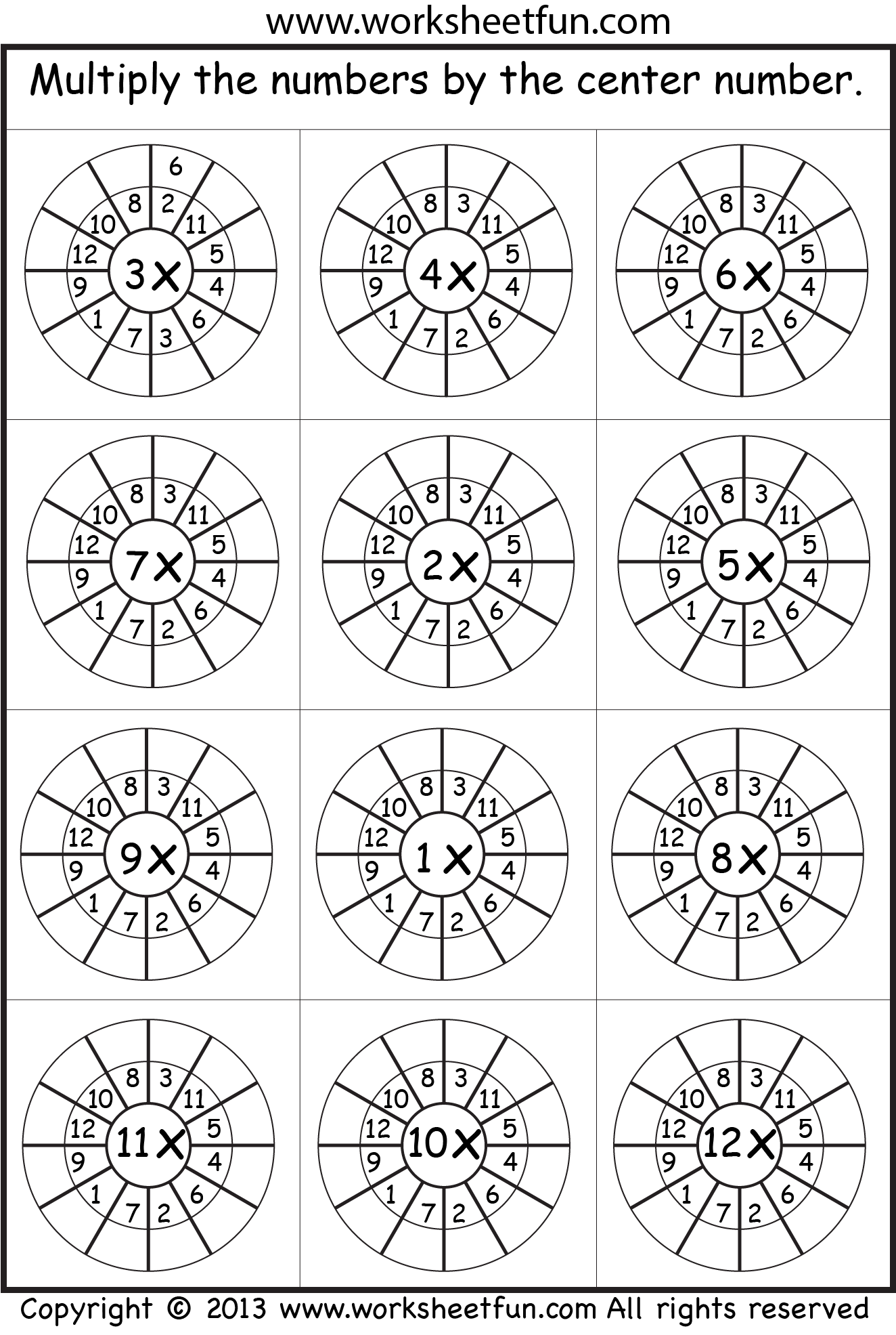 Multiplication Target Circles  Math    Multiplication