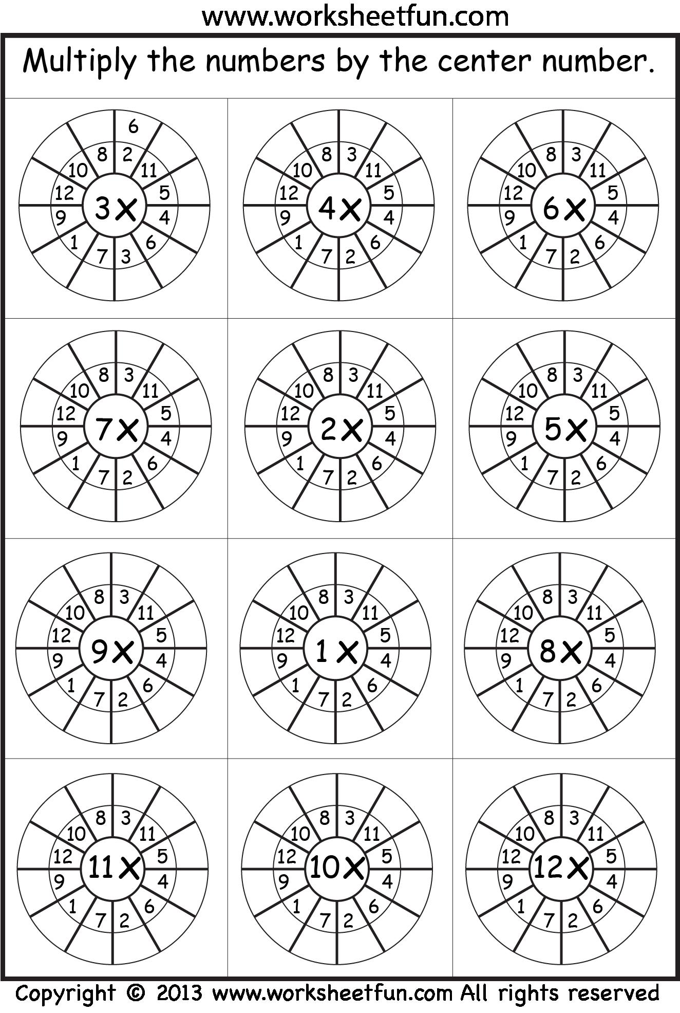 Multiplication Target Circles