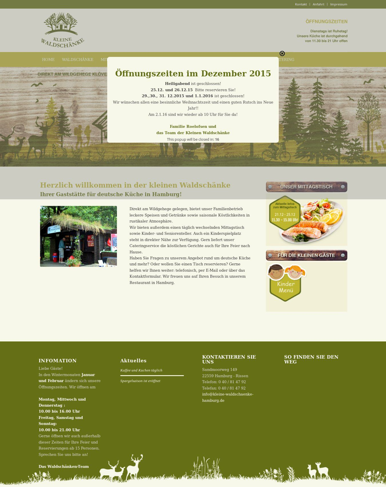 WordPress site kleine-waldschaenke-hamburg.de uses the Wordpress ...