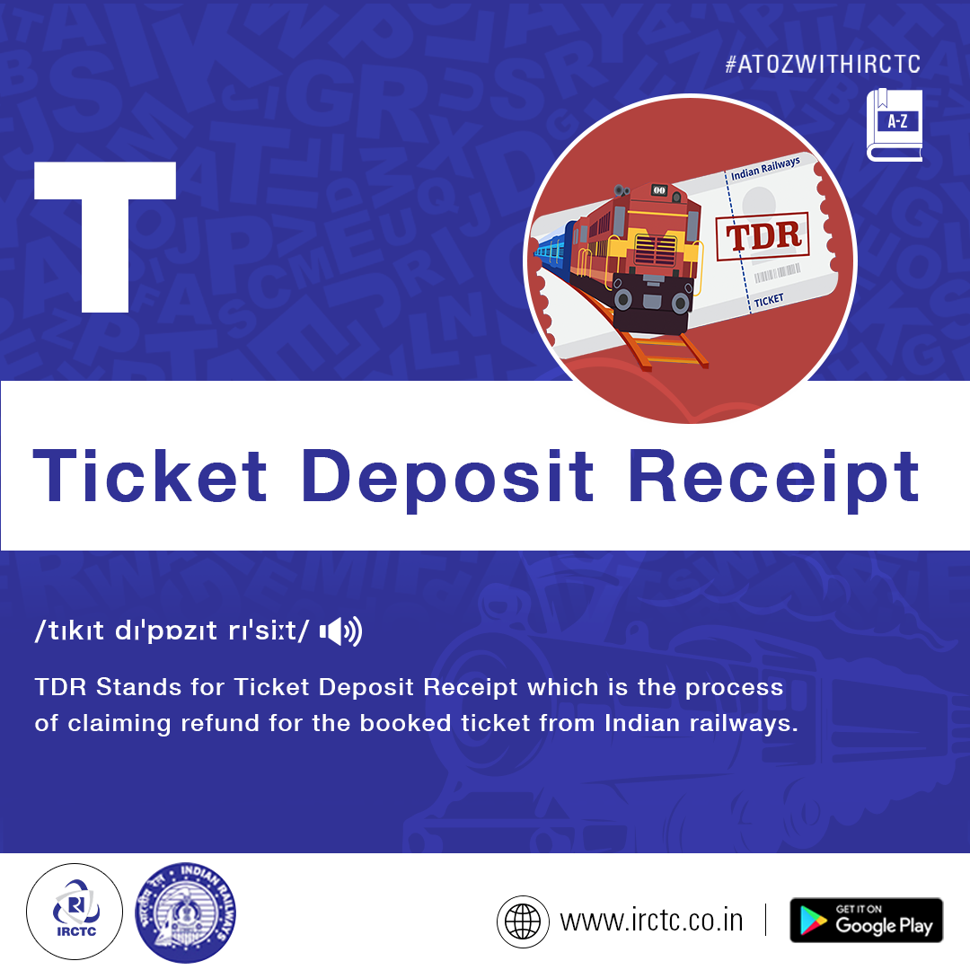 Tdr Is Ticket Deposit Receipt Which Users Can File For A Booked Journey That They Did Not Take It Can Be Easily Filed Onlin Passenger Receipt Indian Railways