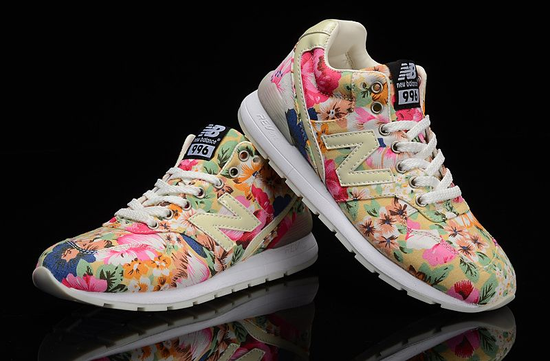 95aba99c1255 New Balance Floral Glow In The Dark Running Shoes 996 Pink Beige Womens