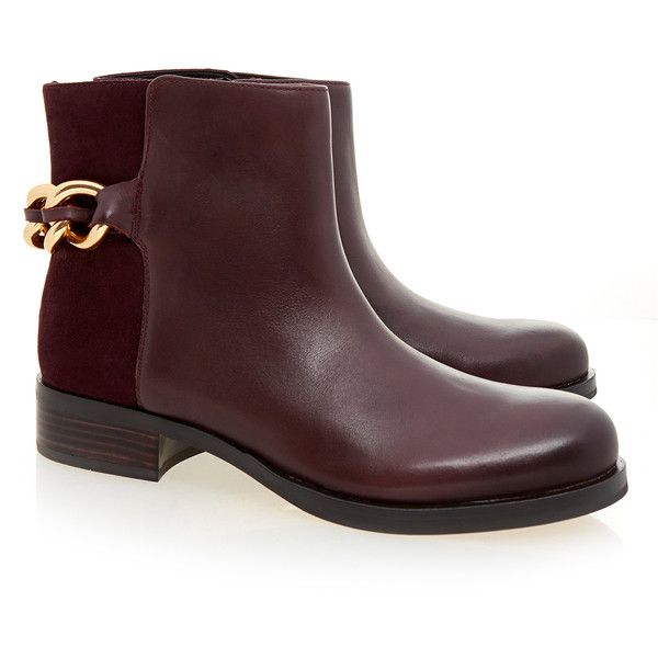 Sam Edelman Burgandy Chester Ankle Bootie (115 CAD) ❤ liked on Polyvore featuring shoes, boots, ankle booties, burgundy, sam edelman booties, ankle boots, stacked heel booties, leather ankle booties and burgundy boots