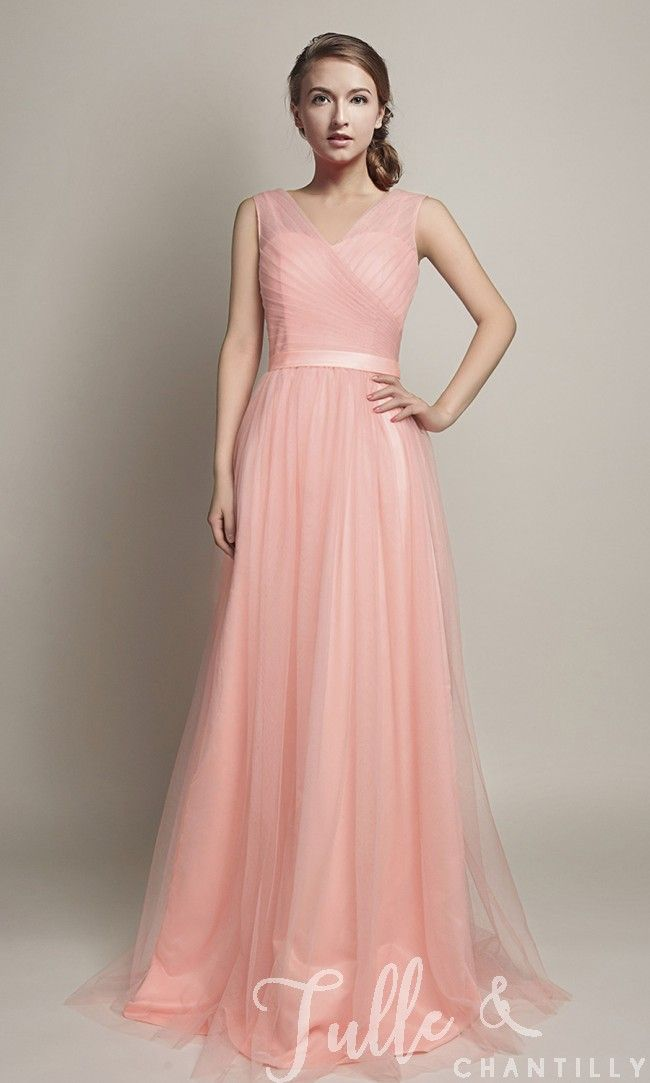 Hot V-Neckline Flowy Pleated Long Tulle Bridesmaid Dresses TBQP309