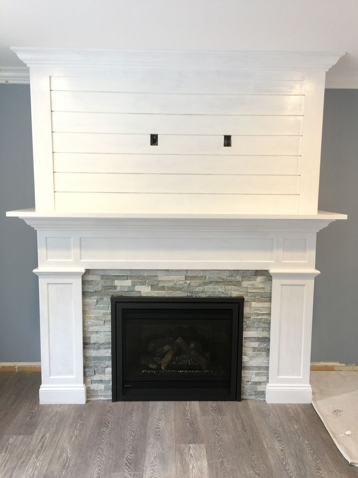 Our craftsman style fireplace with shiplap mantel for Craftsman fireplace pictures