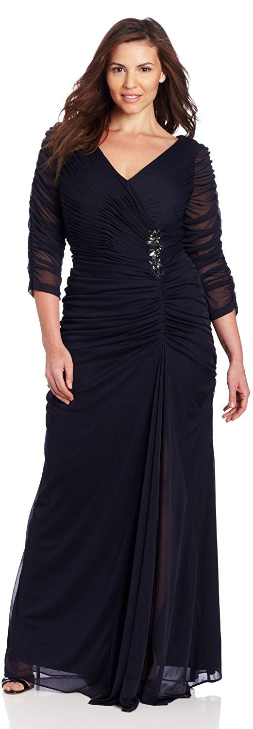Image result for Adrianna Papell Womens Plus-Size Three-Quarter Sleeve Ruched Gown