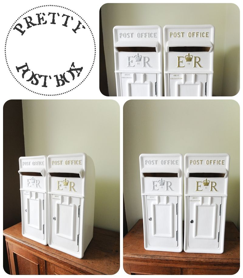 Our White Royal Mail Style Post Boxes With Gold And Silver Ettering