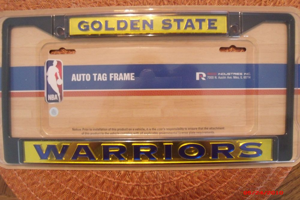 Nba Officical Golden State Warriors Black Auto License Plate Frame