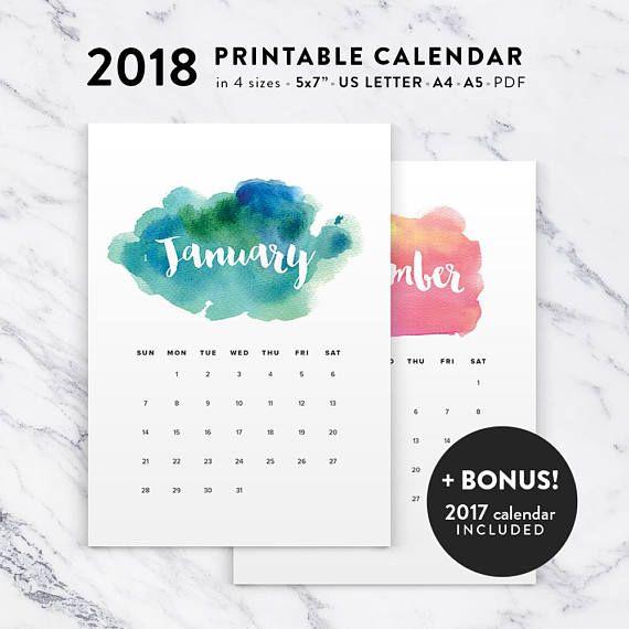 Printable Calendar  Watercolor Calendar Planner  Pdf
