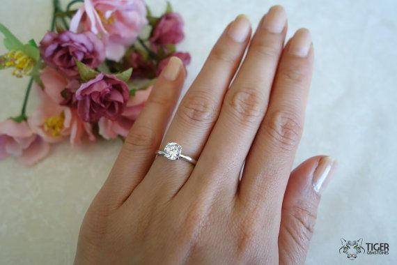 1 ct 4 Prong Promise Ring Classic Solitaire Ring Man Made Diamond