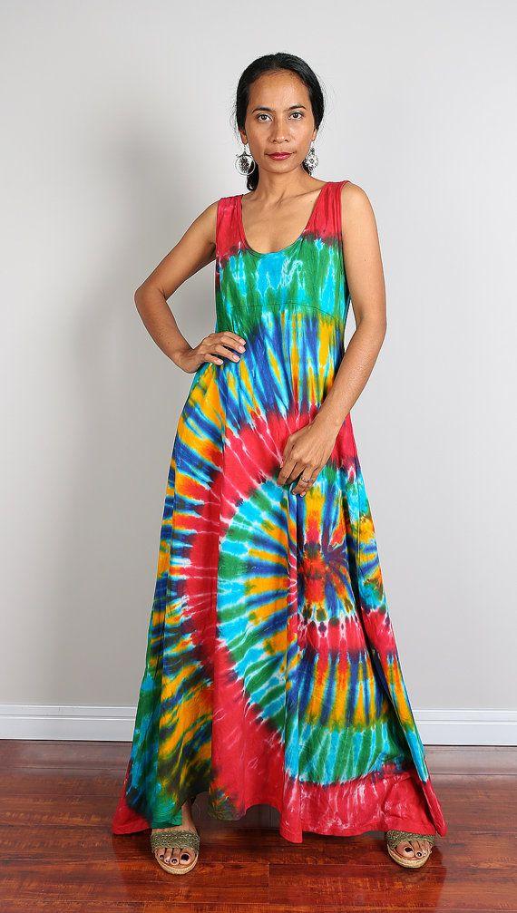 Rainbow Maxi Dress / Long Sexy Tie Dye Cotton Maxi Gown : Funky ...