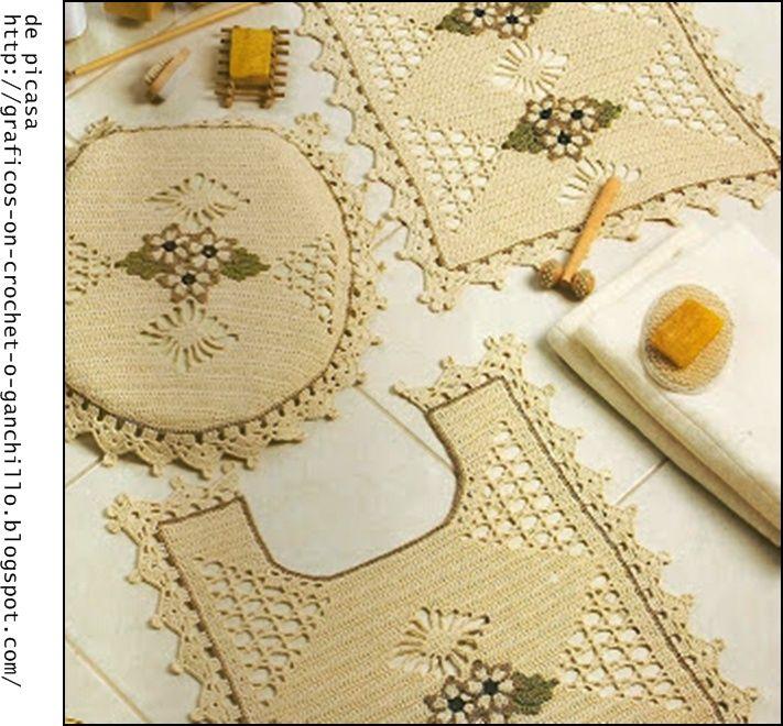 Crochet ganchillo patrones graficos juego para el for Accesorios para cortinas de bano