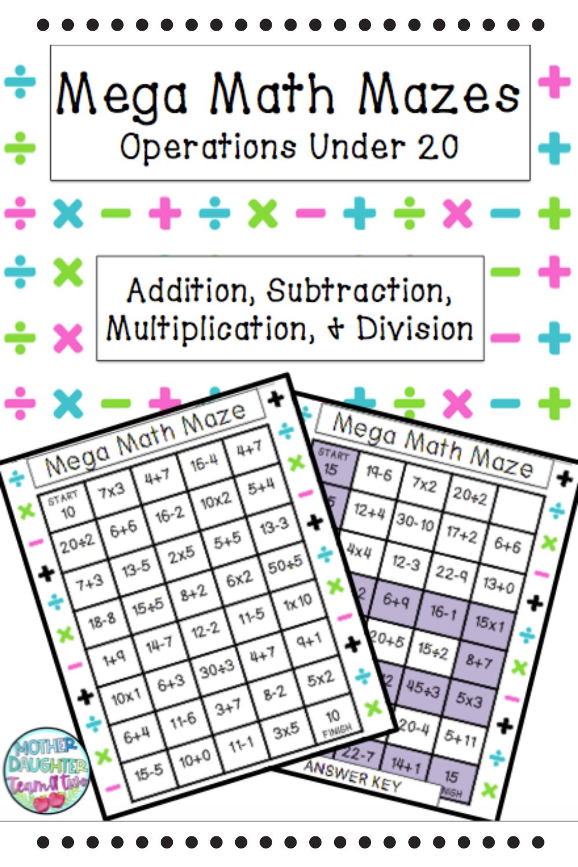 Mega Math Mazes Operations Under 20 Homework At Home Learning Mega Math Student Skills Math