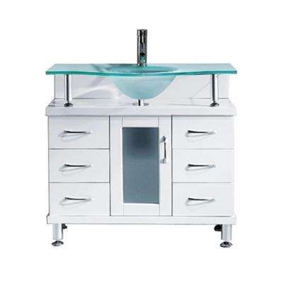Vincente 35.83 in. W x 21.65 in. D x 33.54 in. H White Vanity With Glass Vanity Top With Aqua Round Basin