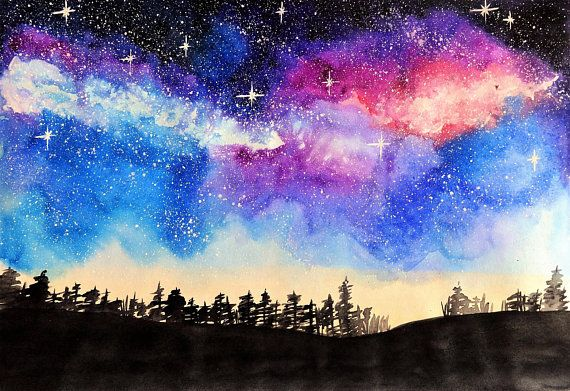 picture relating to Starry Night Printable named Printable Watercolor portray Starry night time Nebula Evening sky
