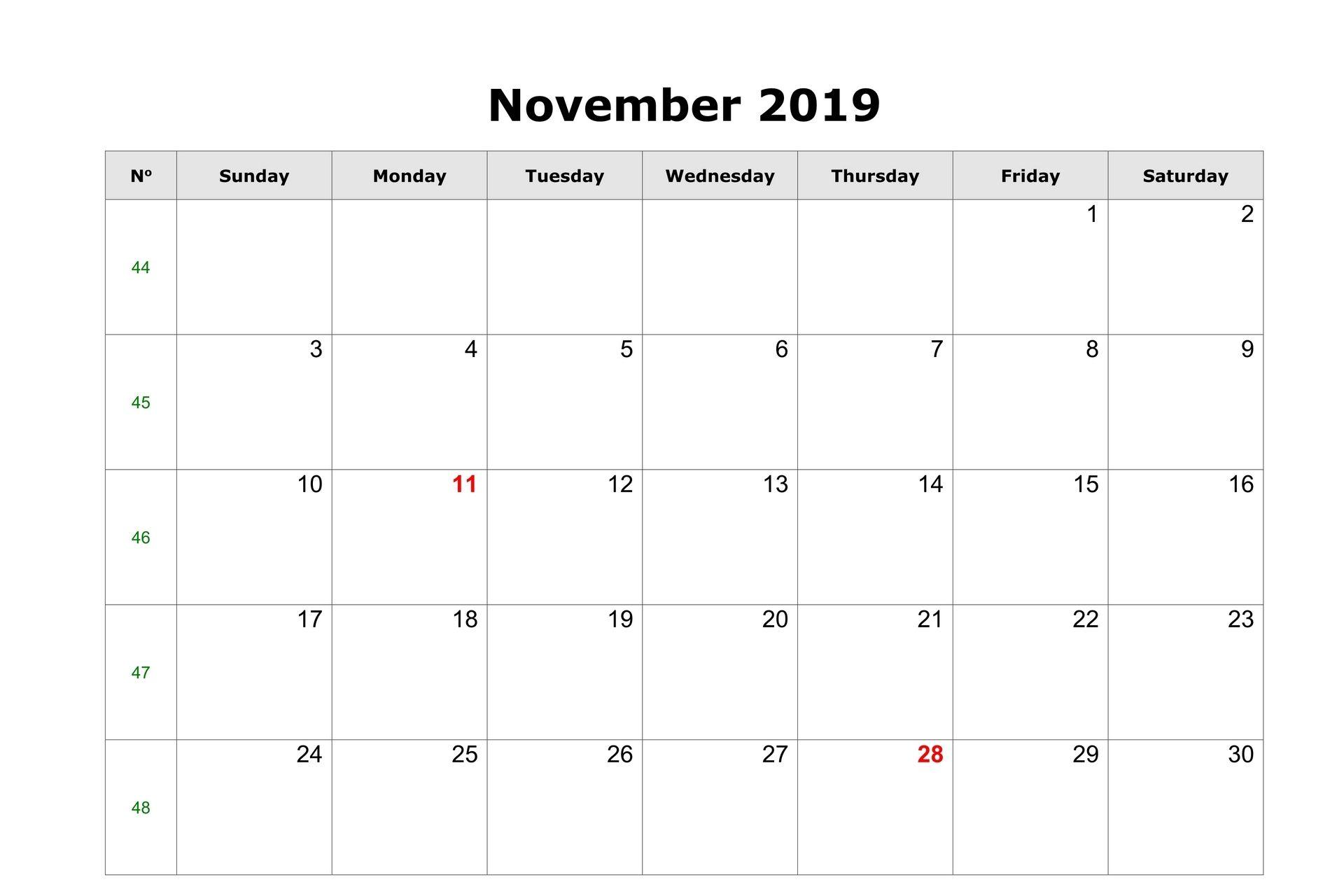 Blank Editable Calendar For November 2019 Calendar Template Free Printable Calendar Templates Editable Calendar