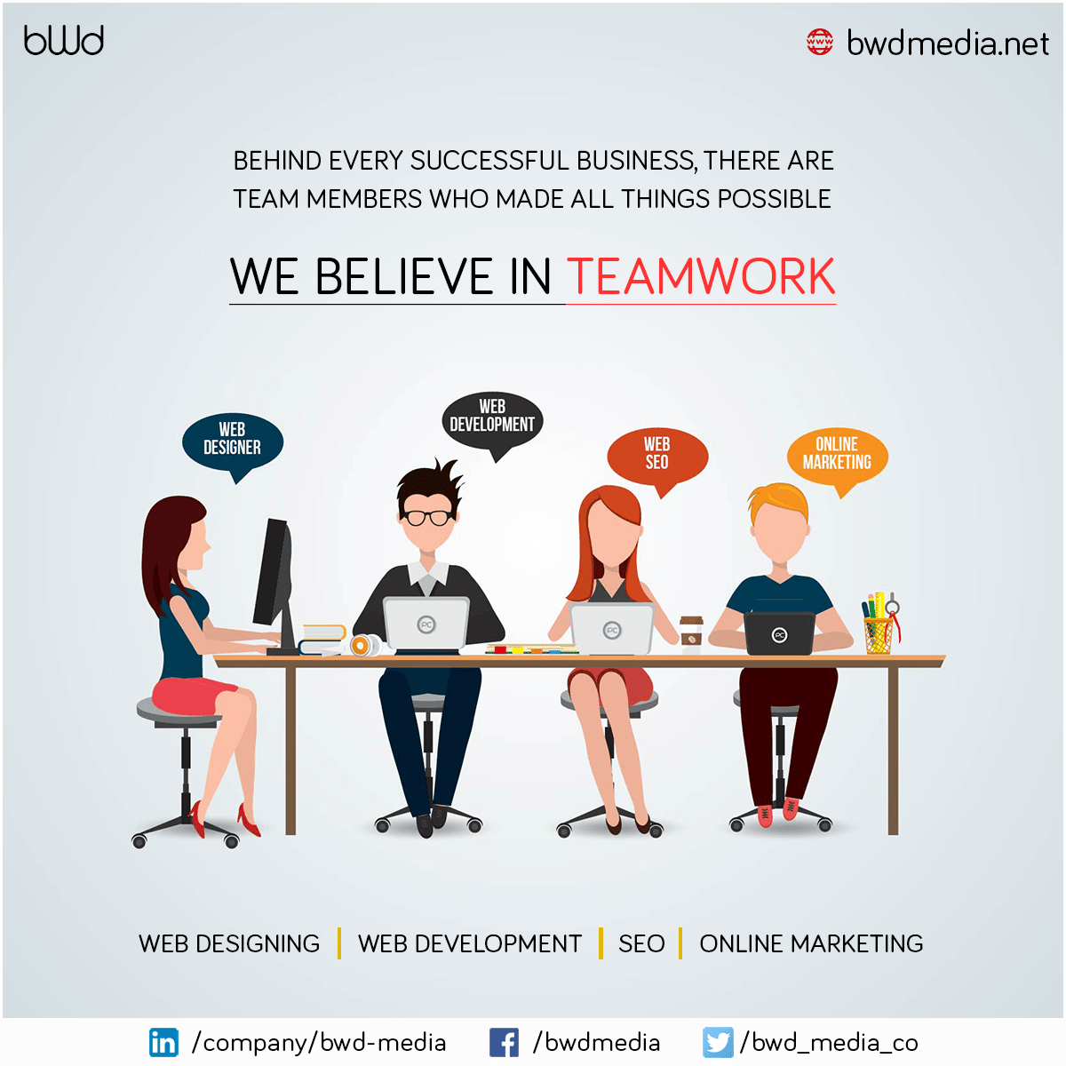 Behind every successful #business, There are team members who made all things possible. #bwdmedia We believe in #teamwork. For more - https://bwdmedia.net/services