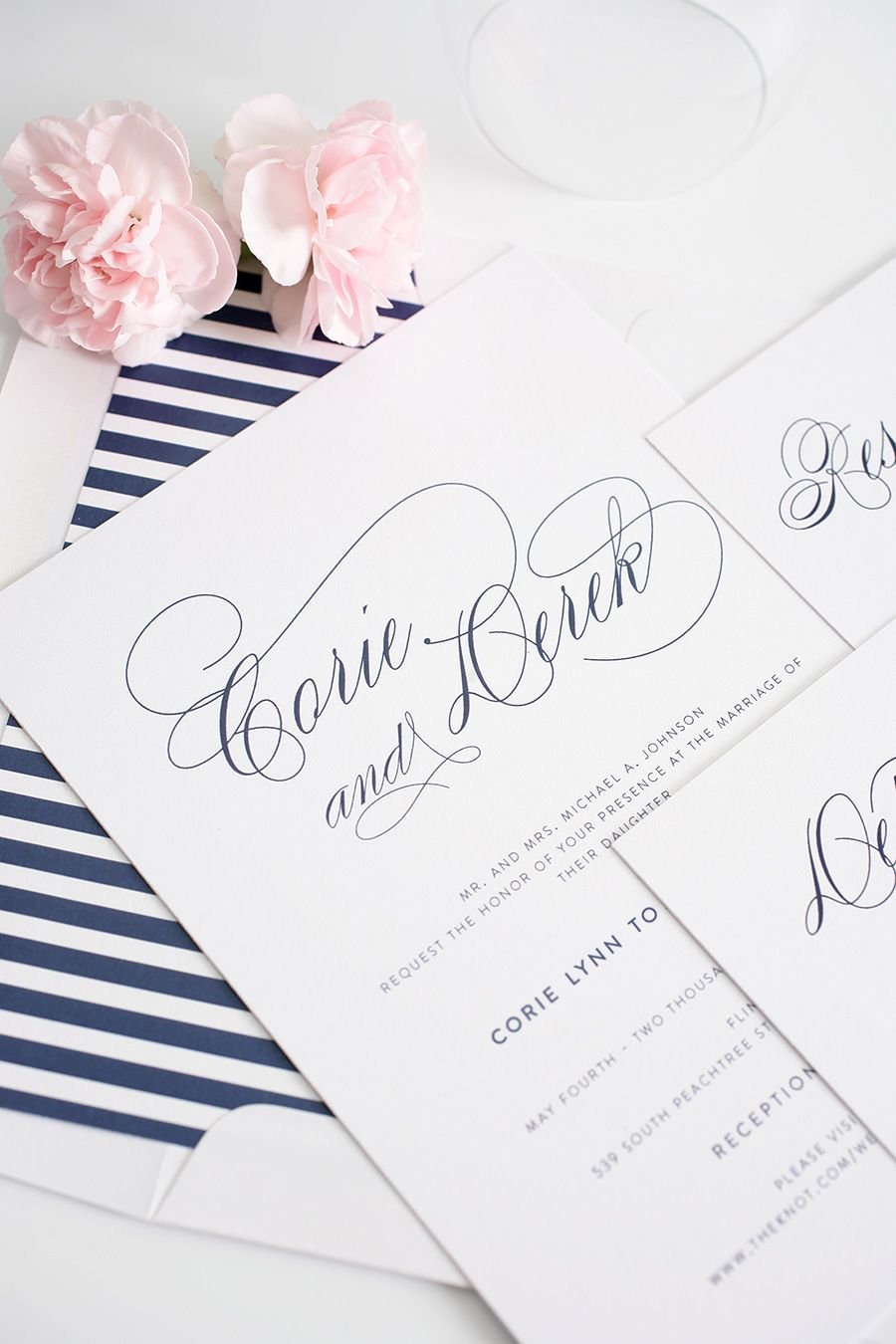 Navy Blue Wedding Invitations with Script Names and Green Belly Band ...