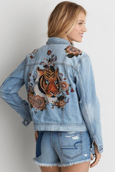 American Eagle Outfitters AE Embroidered Tiger Denim #Jacket - American Eagle Outfitters AE Embroidered Tiger Denim #Jacket