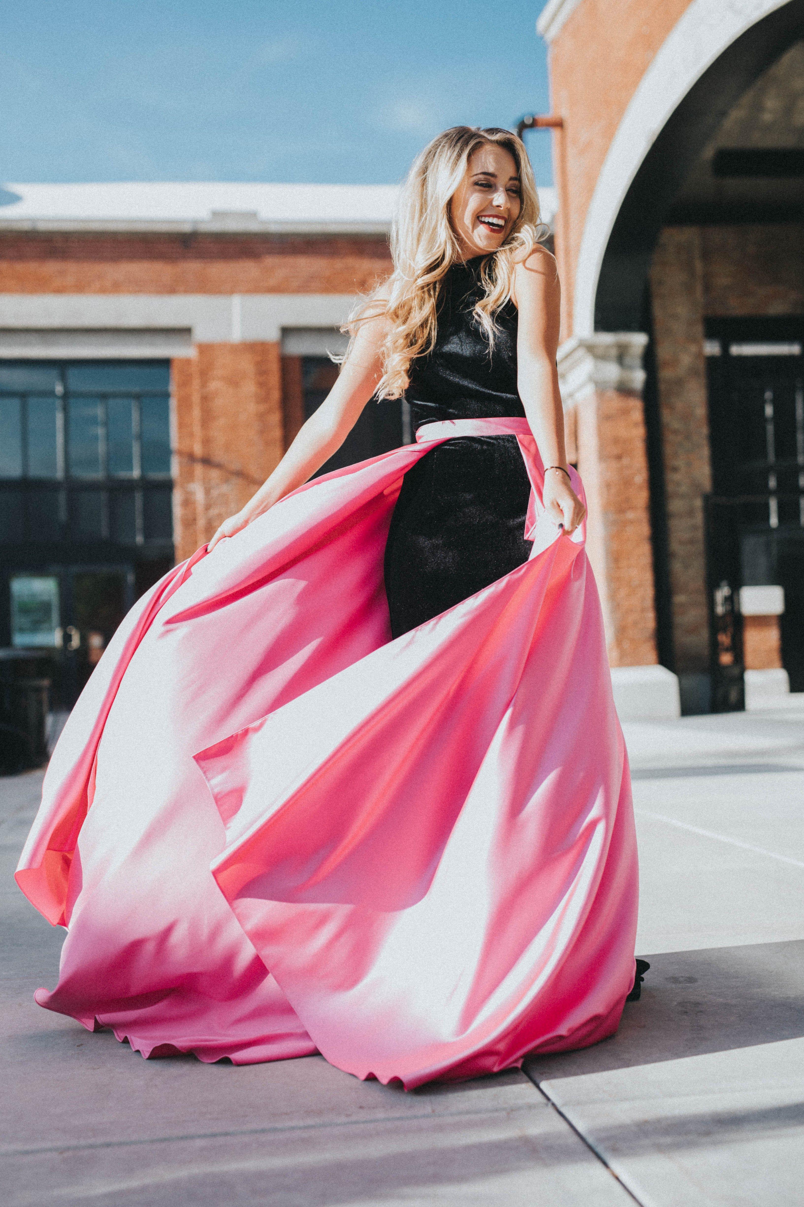 JOVANI Black and Pink YPSILON DRESSES 2 Piece Detachable Skirt Black ...