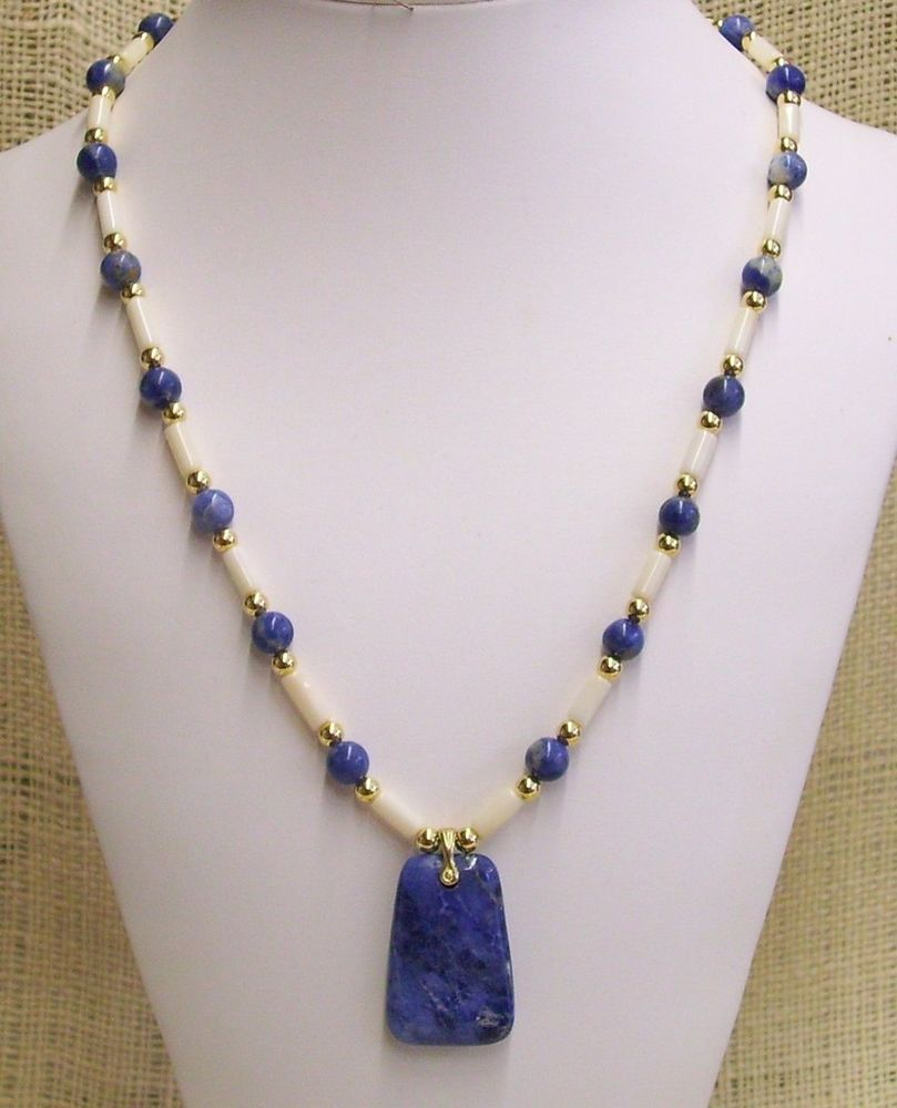 Pendant Necklace Handmade With Sodalite and Bone Tube Beads Gold Plate Rounds