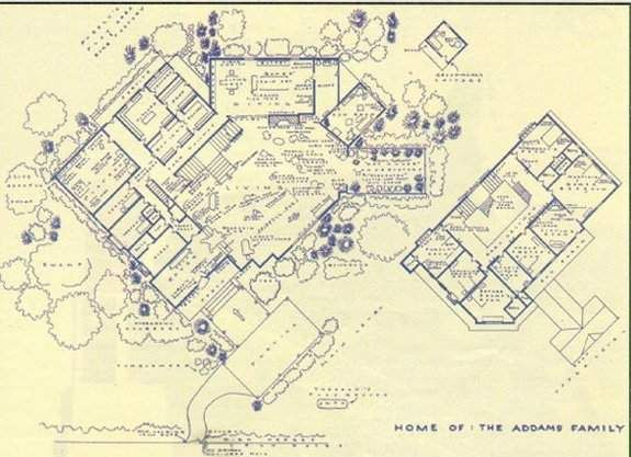 Addams Family Home Floor Plan Along With A Bunch Of Other Tv Show Fantasy Floor Plans By Mark Bennett Addams Family House Family House Plans Addams Family