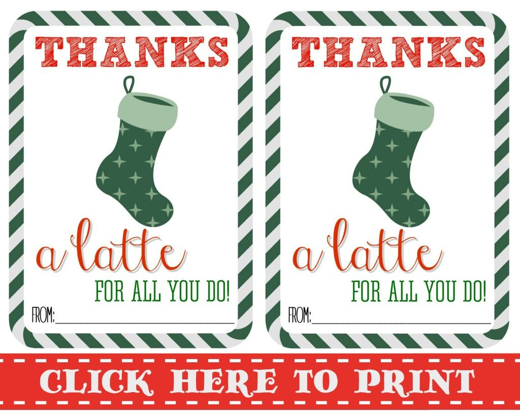 picture regarding Thanks a Latte Christmas Printable named Owing A Latte Free of charge Printable Present Playing cards Totally free xmas