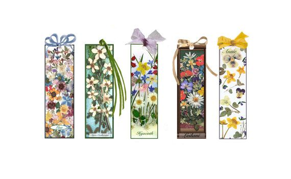 My friend Amy Crystals pressed flower pieces! Personalized Bookmarks Pressed Flower Print by crystalartandphoto
