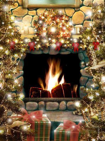 Christmas Fireplace Рождество Pinterest Christmas mantels - christmas fireplace decor
